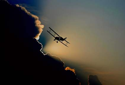 Royalty-Free photo: Silhouette of biplane | PickPik