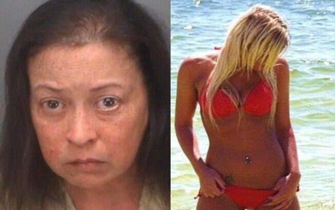 Frances Lee Tapscott, à esquerda, usou foto de uma mulher de biquíni em seu perfil falso