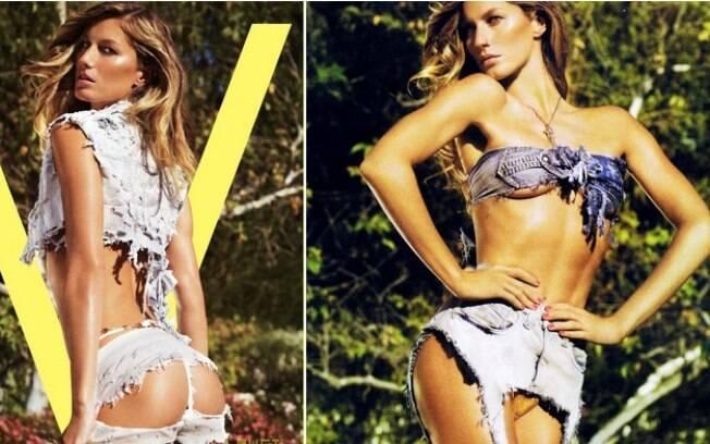Nunca alguém vestiu também uma calça jeans como Gisele na capa da V Magazine, em 2008. Foto: Reprodução