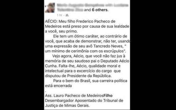 Tio do senador Aécio Neves (PSDB-MG) confirmou ao