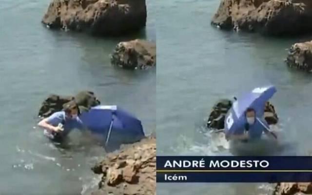 André Modesto caiu no rio