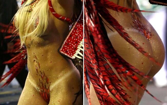 Juju Salimeni com o corpo pintado, e tapa-sexo, no desfile da Mancha de 2012. Foto: Futura Press