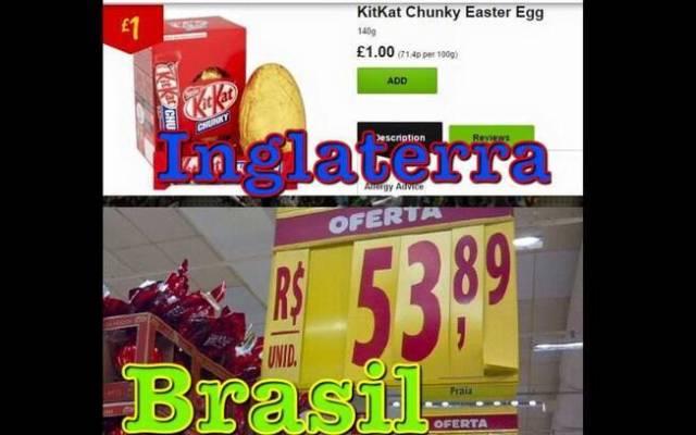 Montagem mostra ovo de Páscoa Kit Kat anunciado por uma libra