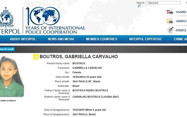 Já a pequena Gabriela aparece na lista de crianças desaparecidas do órgão. Foto: Divulgação