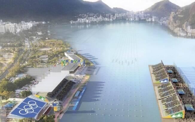 Estádio de Remo da Lagoa não terá mais a arquibancada flutuante (à direita)