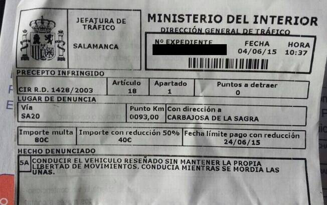 Roer unhas rendeu multa para um motorista de Salamanca, na Espanha