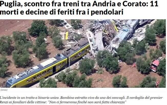 Colisão de trens deixa mortos e dezenas de feridos no sul da Itália