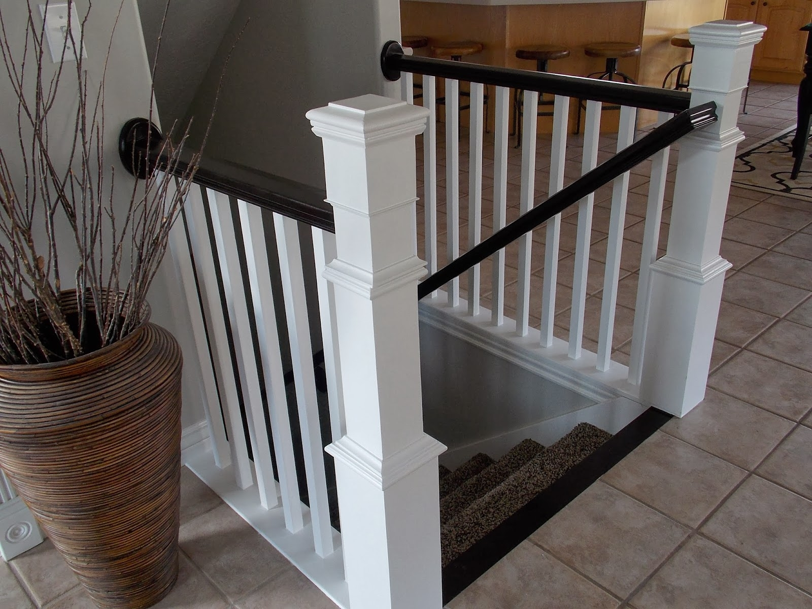 Remodelaholic Stair Banister Renovation Using Existing Newel | Top Of Stairs Banister | High End | Indoor | Barn Beam | Redo | Glass