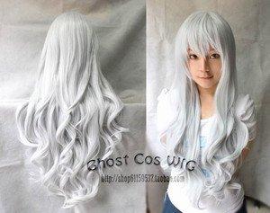 wonderful silvery white curly women s full wig brazilian fashion lady s woman s fibre queen