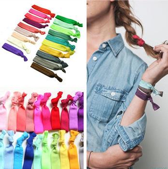 new head wear candy color women girls foe elastic hair tie bracelet wristbands for girl ponytail