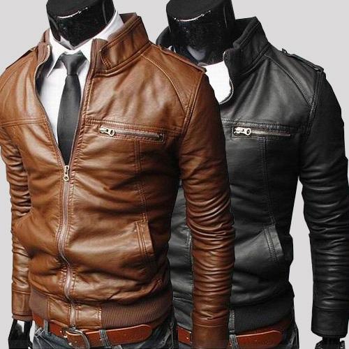 Veste en cuir homme marron et noir