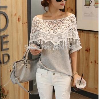 1pcs Handmade Women Crochet Cape Collar Batwing Sleeve Tops T Shirt Hollow Out Lace Cutout Shirt YKS