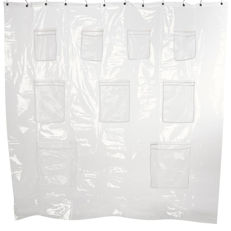 exclusive concierge collection shower curtain liner with storage pockets