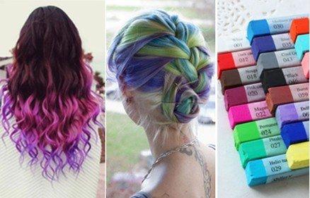 coloring hair with chalk pastel dye dark brown hairs