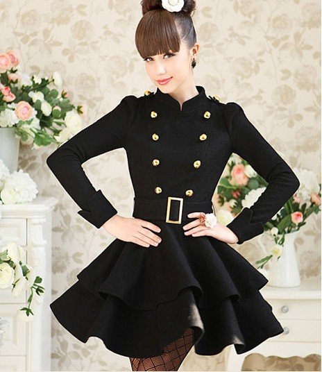 High quality Stand-up Collar Slim Fit Epaulette Peacoat Skirt Style Black Women's Coats Ladies Wear(China (Mainland))