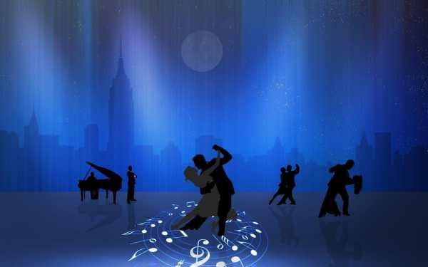 Обои для рабочего стола: ноты, танцы, пара, город, луна, рояль
