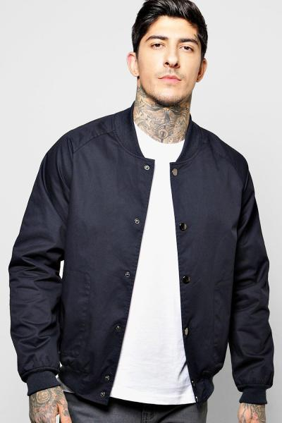 boohoo Bomber with Popper Buttons - navy