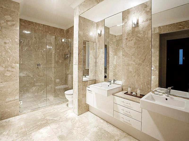 Modern bathroom design with twin basins using frameless ... on Bathroom Ideas Photo Gallery  id=84054