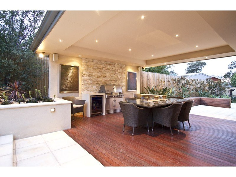 Walled outdoor living design with bbq area & decorative ... on Ab And Outdoor Living  id=16204