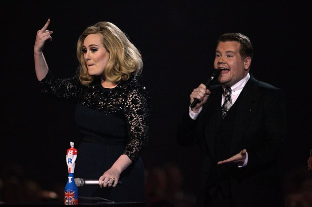 Adele and James Corden.