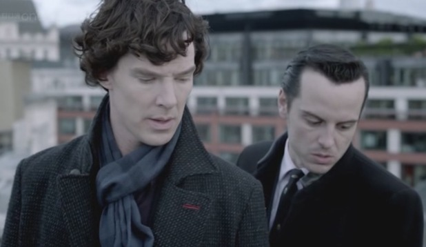 Benedict Cumberbatch and Andrew Scott in 'The Reichenbach Fall'