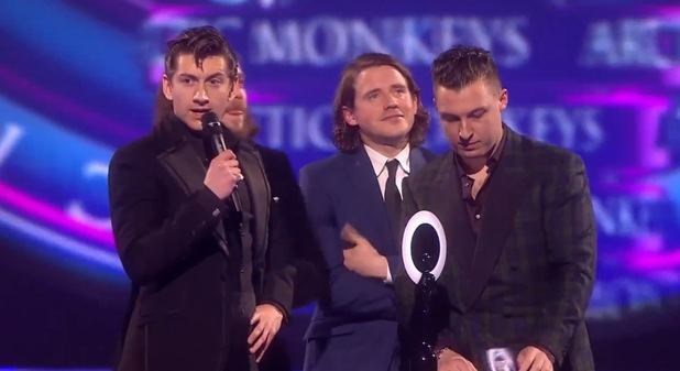 Arctic Monkeys' Alex Turner gives speech at Brits 2014.
