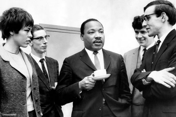 Dr Martin Luther King pictured with a group of students at Newcastle University in 1967