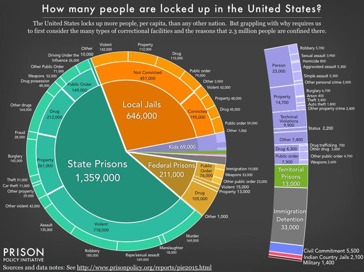 pie chart showing how many people are locked up, where, and why