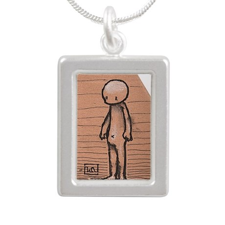 Standing guy Silver Portrait Necklace