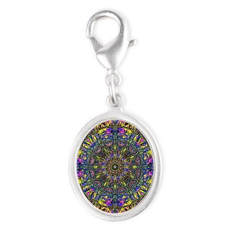 Mandala Silver Oval Charm