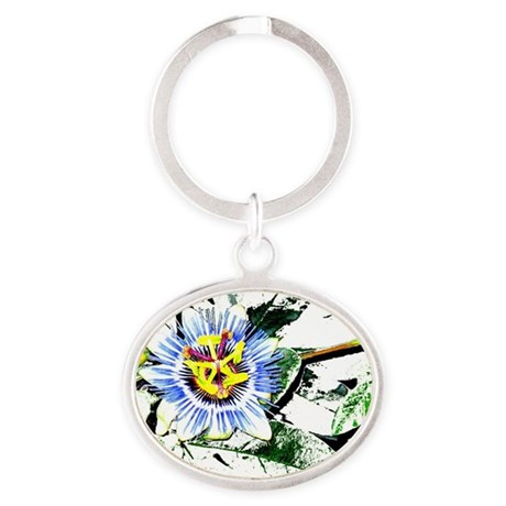 Flower Oval Keychain