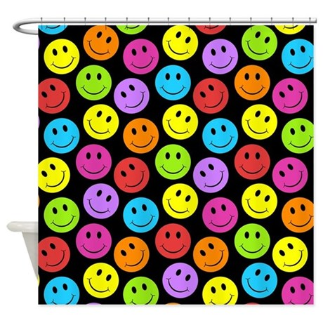 Happy Colorful Smiley Faces Pattern Shower Curtain