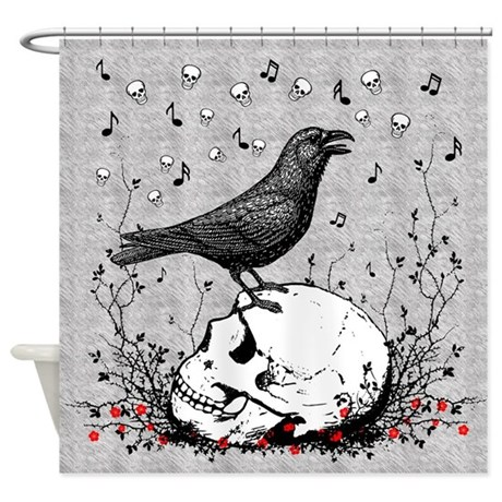 Raven Sings Song of Death on Skull Illustration Shower Curtain