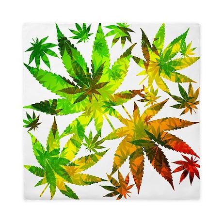 Marijuana Cannabis Leaves Pattern Queen Duvet