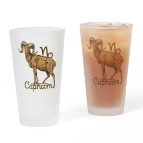 Zodiac Sign Capricorn Symbol Drinking Glass