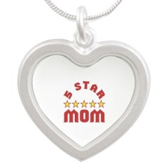 Picture of heart shaped 5 star mom necklace