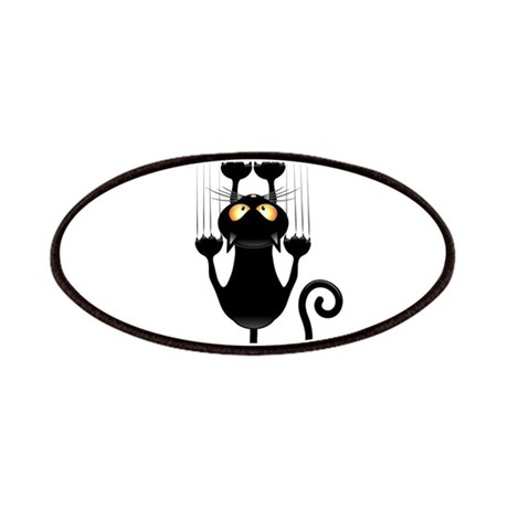Black Cat Cartoon Scratching Wall Patches
