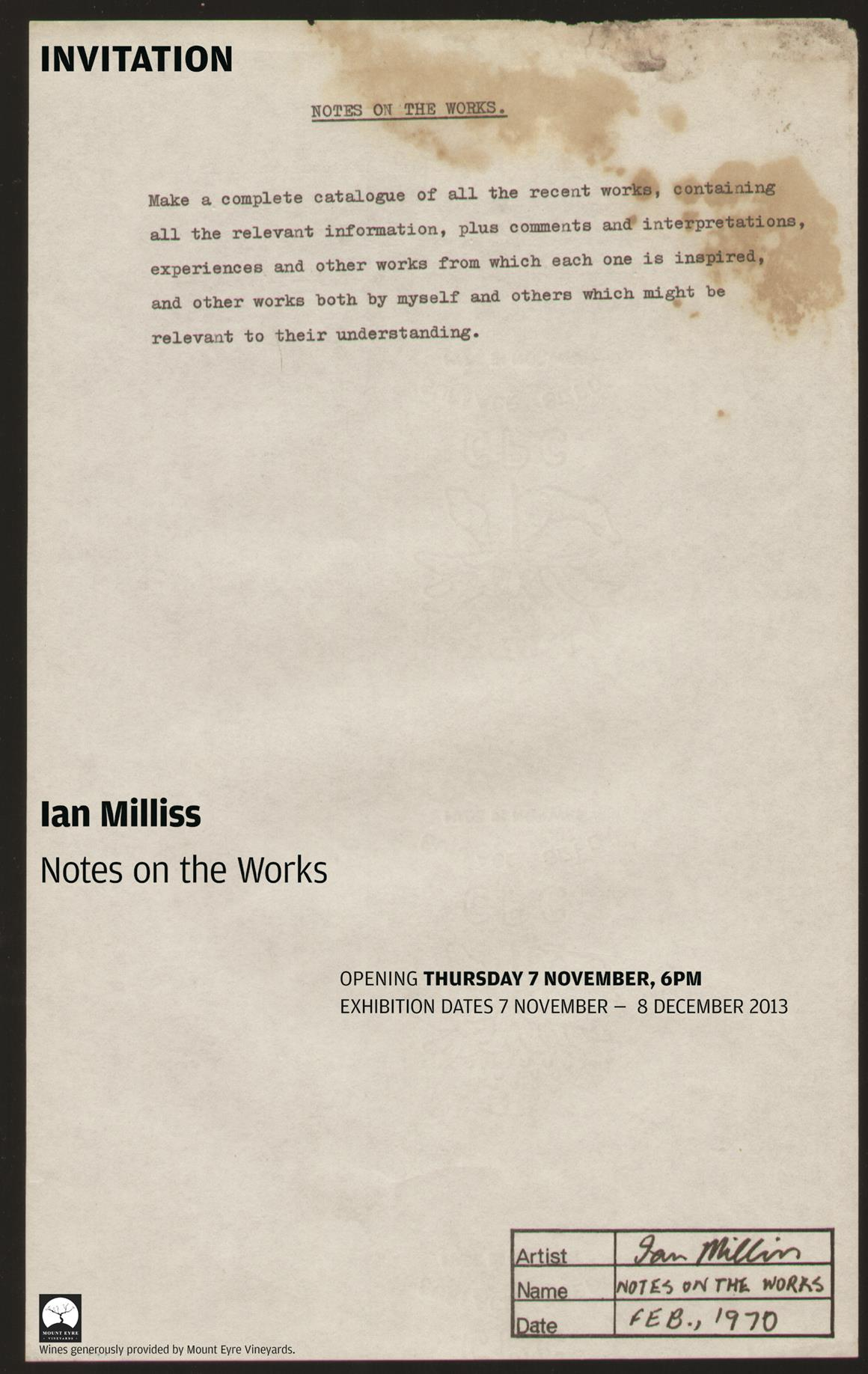 Invitation: Exhibition Opening, Ian Milliss 'Notes on the Works', Thursday 7 November, 6pm