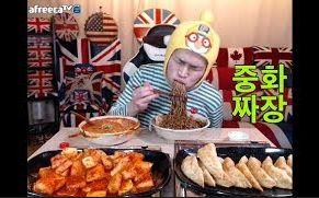 [韩国吃播][花猪]中华炸酱面+煎饺子