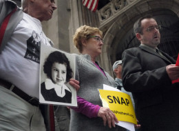 CHICAGO, IL - SEPTEMBER 14: Members of the Survivors Network of those Abused by Priests (SNAP) hold a press conference September 14, 2011 in Chicago, Illinois. (Photo by Scott Olson/Getty Images)