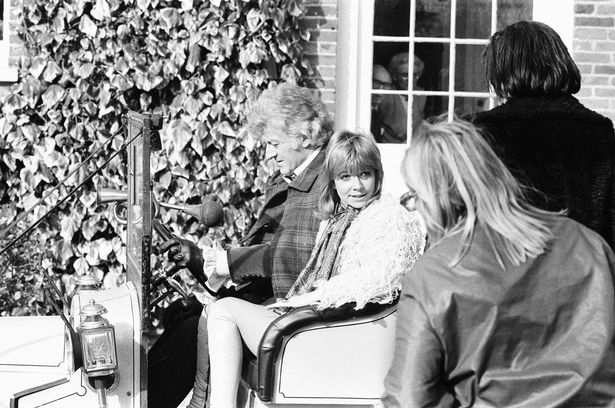 Jon Pertwee and Katy Manning on location in 1972 filming the Doctor Who serial The Time Monster