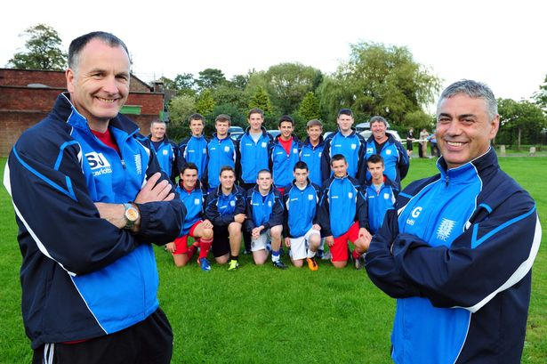 Rhys Jones' dad, Steve, left, together with the manager of Rhys' old football team, Steve Geoghegan in 2011