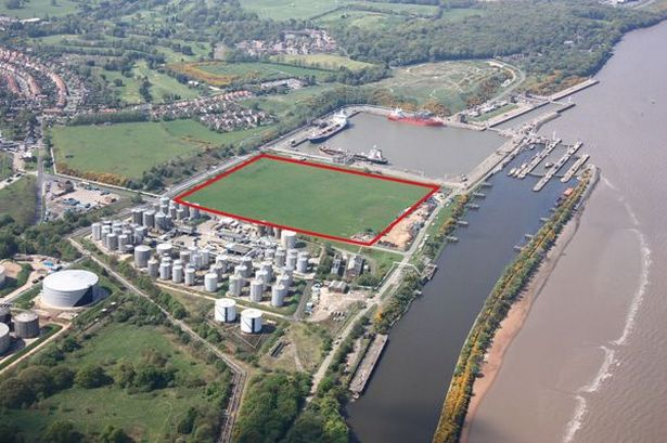 The site in Eastham where the used oil re-refinery would be built by the QE2 Dock. Picture: Hydrodec Group