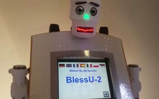 "Robot priest - The robot on show in the old town of Wittenberg is called ""BlessU-2"""