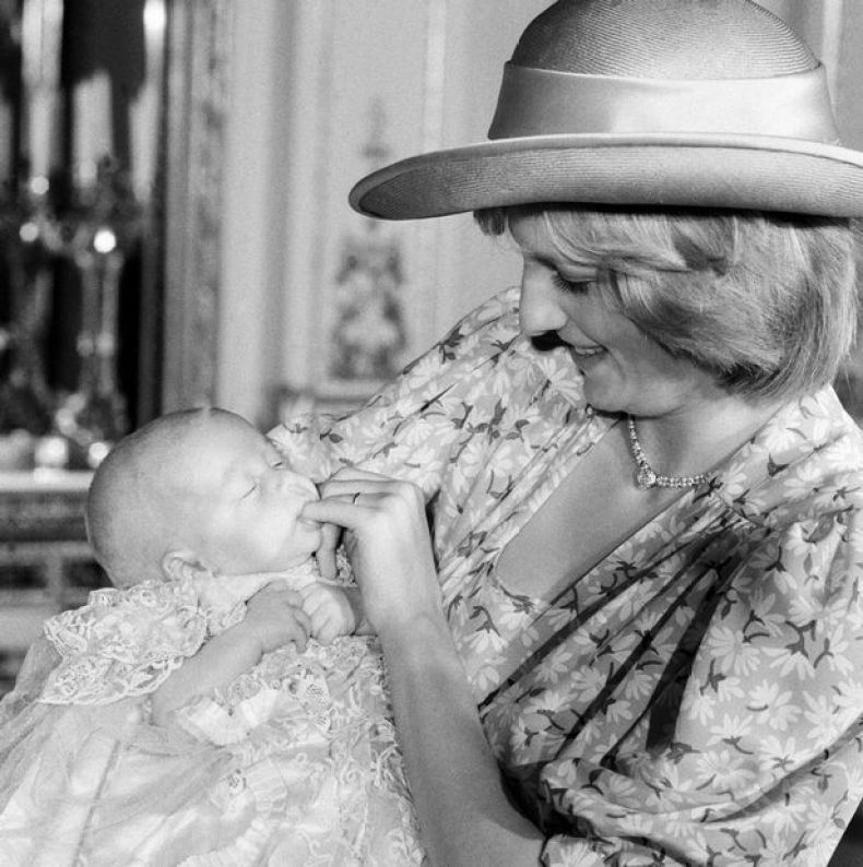 Diana and Prince William at his christening