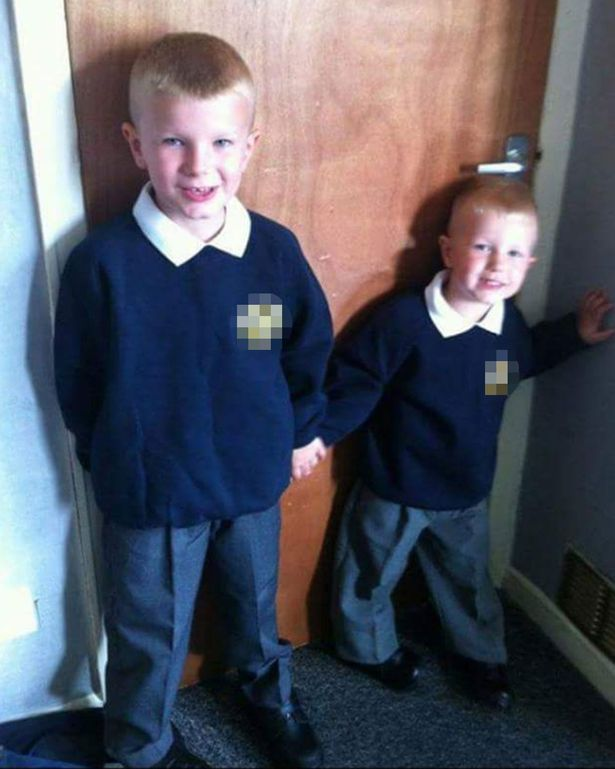 Tegan Dyason is pictured on her first day of school as Tom, with her big brother Josh