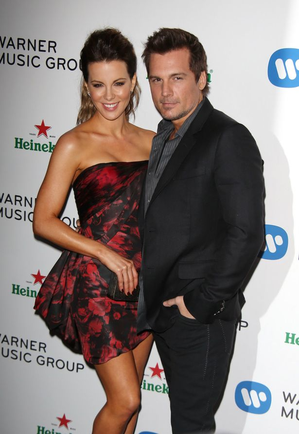 Kate Beckinsale and husband Len Wiseman arrive at the Warner Music Group Grammy After Party in LA