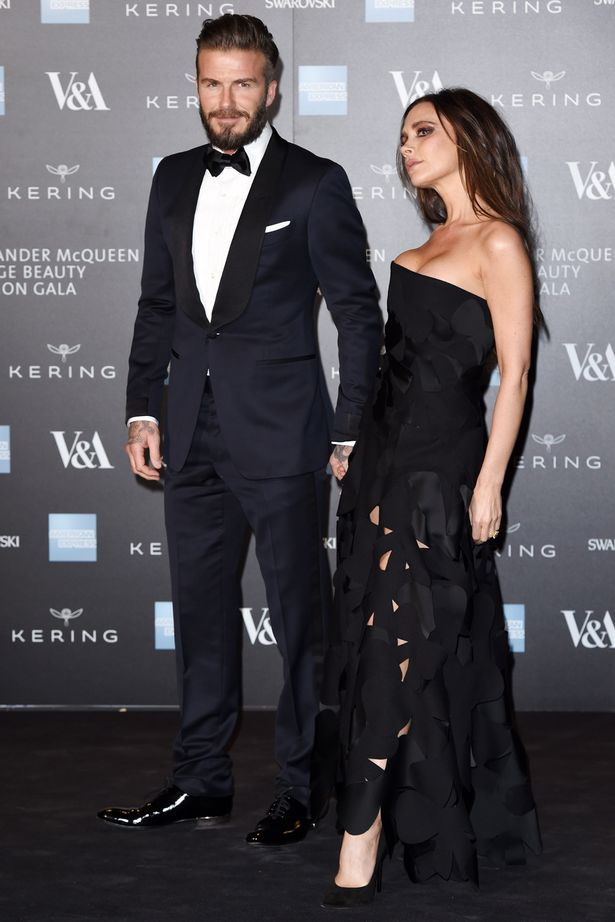 David and Victoria Beckham at the Alexander McQueen: Savage Beauty Fashion Benefit Dinner