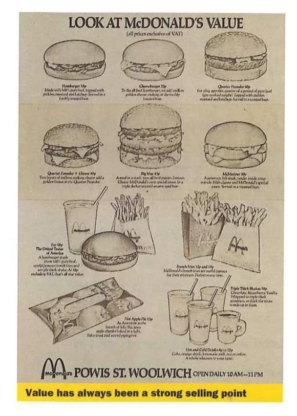 A 1974 McDonalds menu