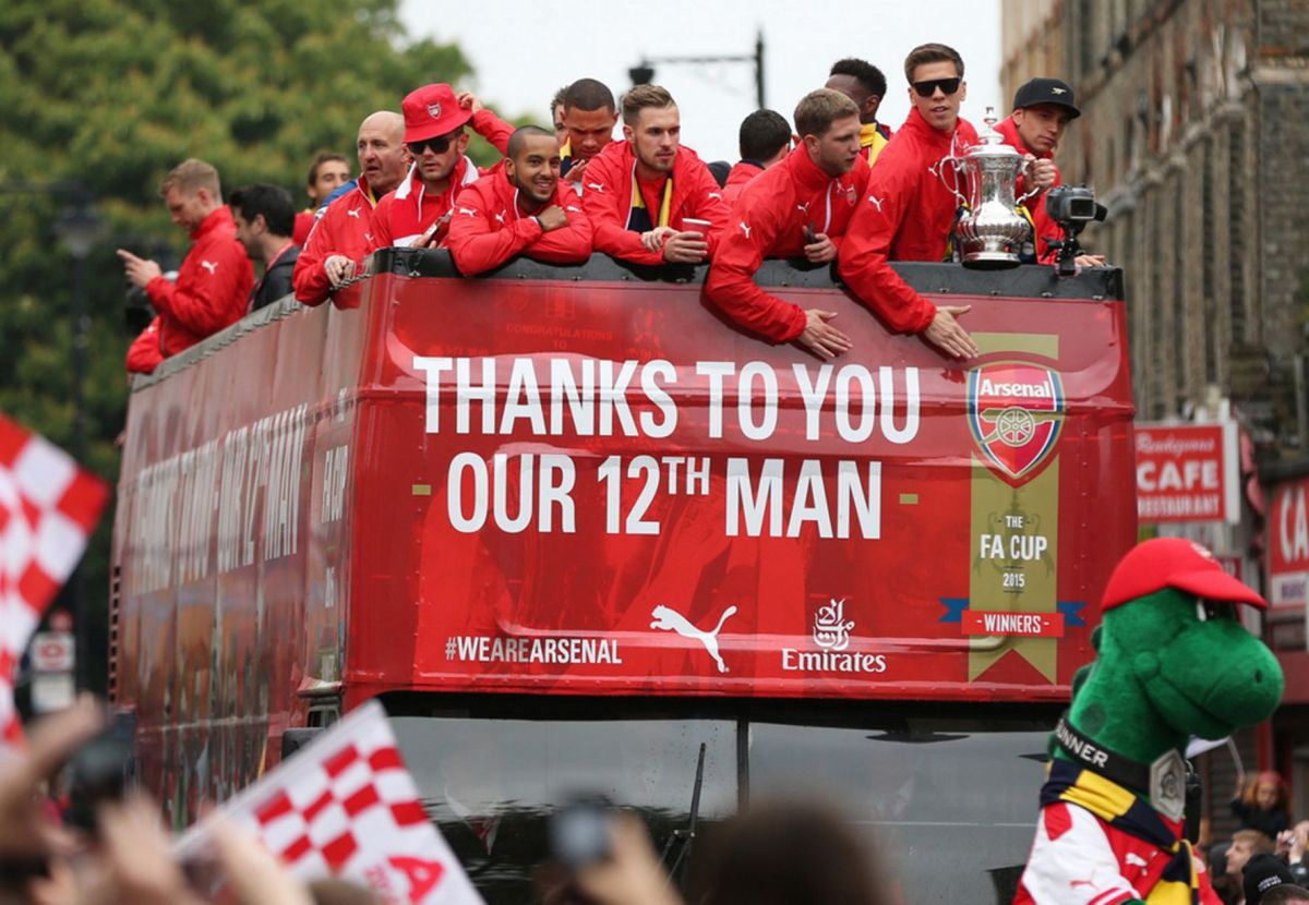Arsenal celebrate winning the FA Cup during the parade